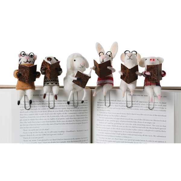 Felted Wool Animal Clip-On Bookmarks #feltedwoolanimals