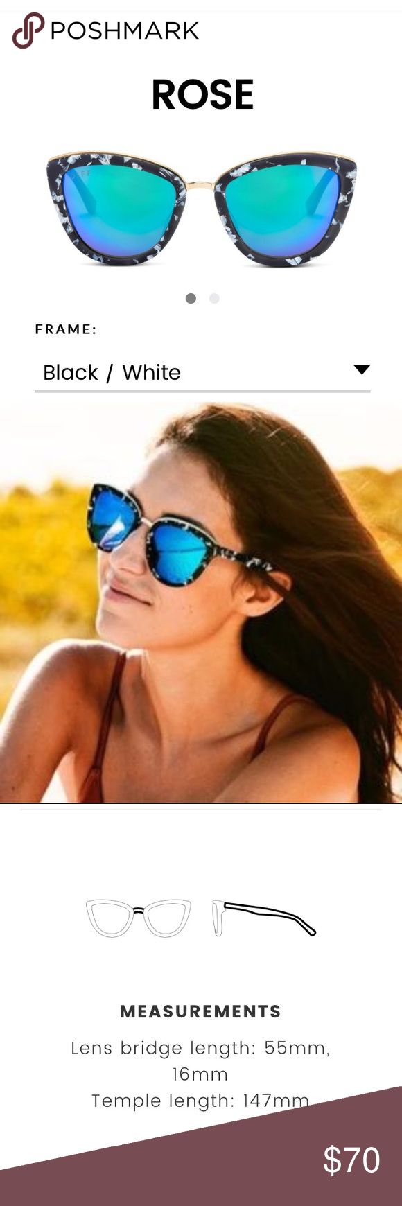 a409b5b2a7e Diff eyewear sunglasses rose BNWT Brand new with box! Never worn! These are  more of a blue and purple lense than in photo above  let me know if you  have any ...