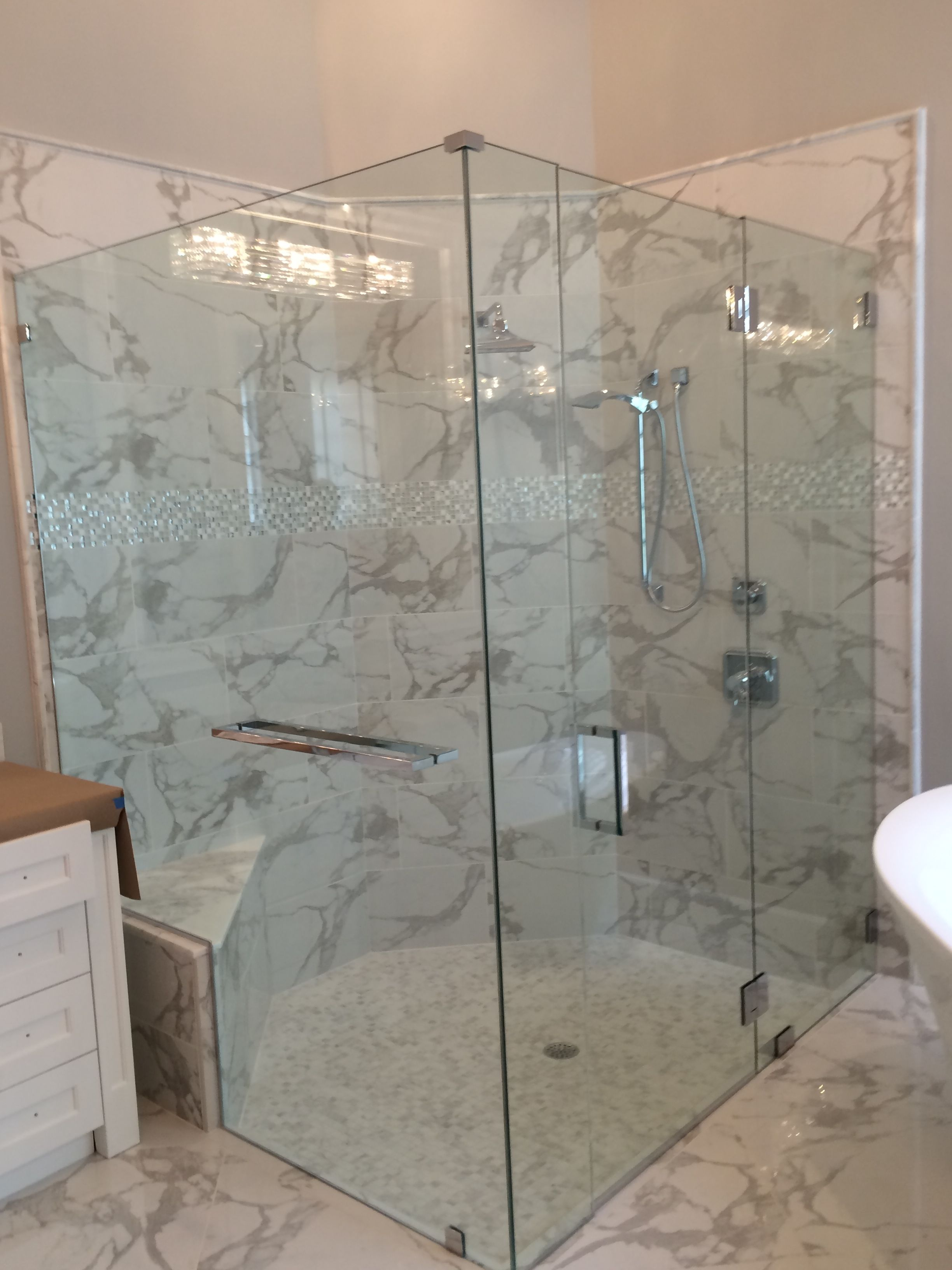 Thick 12 Glass Shower Door With Towel Bar And Clips Bathroom