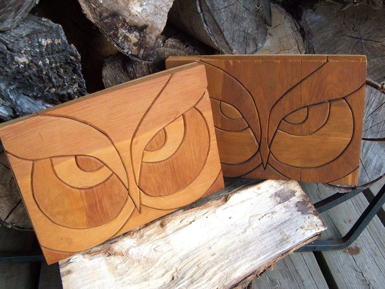 Pair of handmade vintage wood owl plaques by lookonmytreasures on