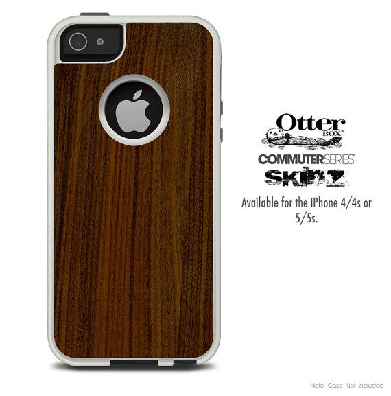 The Walnut Wood Skin For The iPhone 4-4s or 5-5s Otterbox Commuter Case