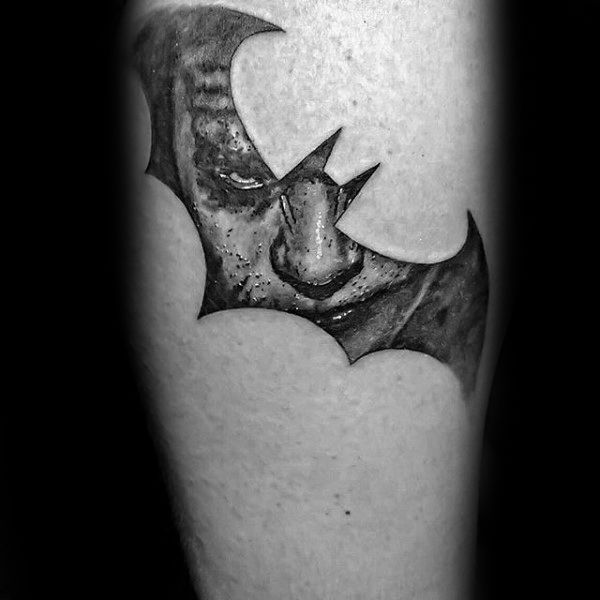 50 Batman Symbol Tattoo Designs For Men Superhero Ink Ideas Batman Symbol Tattoos Joker Tattoo Design Tattoo Designs Men