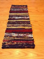 Table runner.  Cotton warp and fabric strips for weft