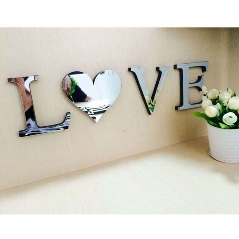 Mirror Wall Sticker Love Letters Wall Decor DIY Art Mural 3D Acrylic Silver