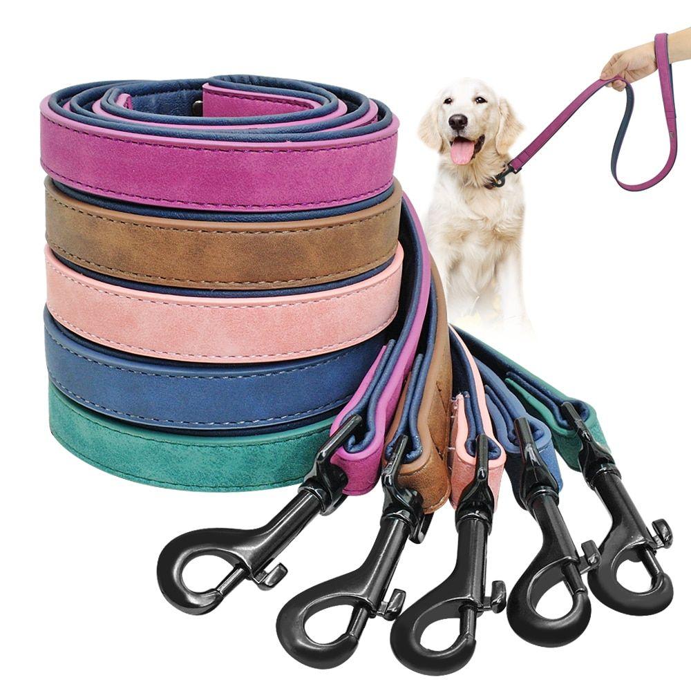 Dog Leash Harness Leather Lead Pet Dog Puppy Walking Running