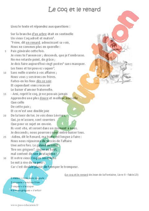 Le Coq Et Le Renard 6eme Lecture Fable Recit Pass Education Fable Lecture Recit