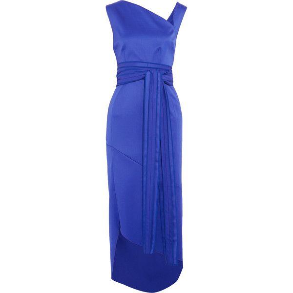 Antonio Berardi - Asymmetric Belted Wool-blend Midi Dress ($886 ...
