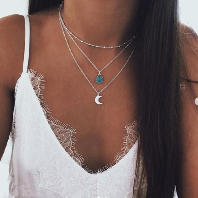 IF ME Vintage Multilayer Crystal Pendant Necklace Women Gold Color Beads Moon Star Horn Crescent Choker Necklaces Jewelry New -   20 women's jewelry Necklace stone pendants ideas