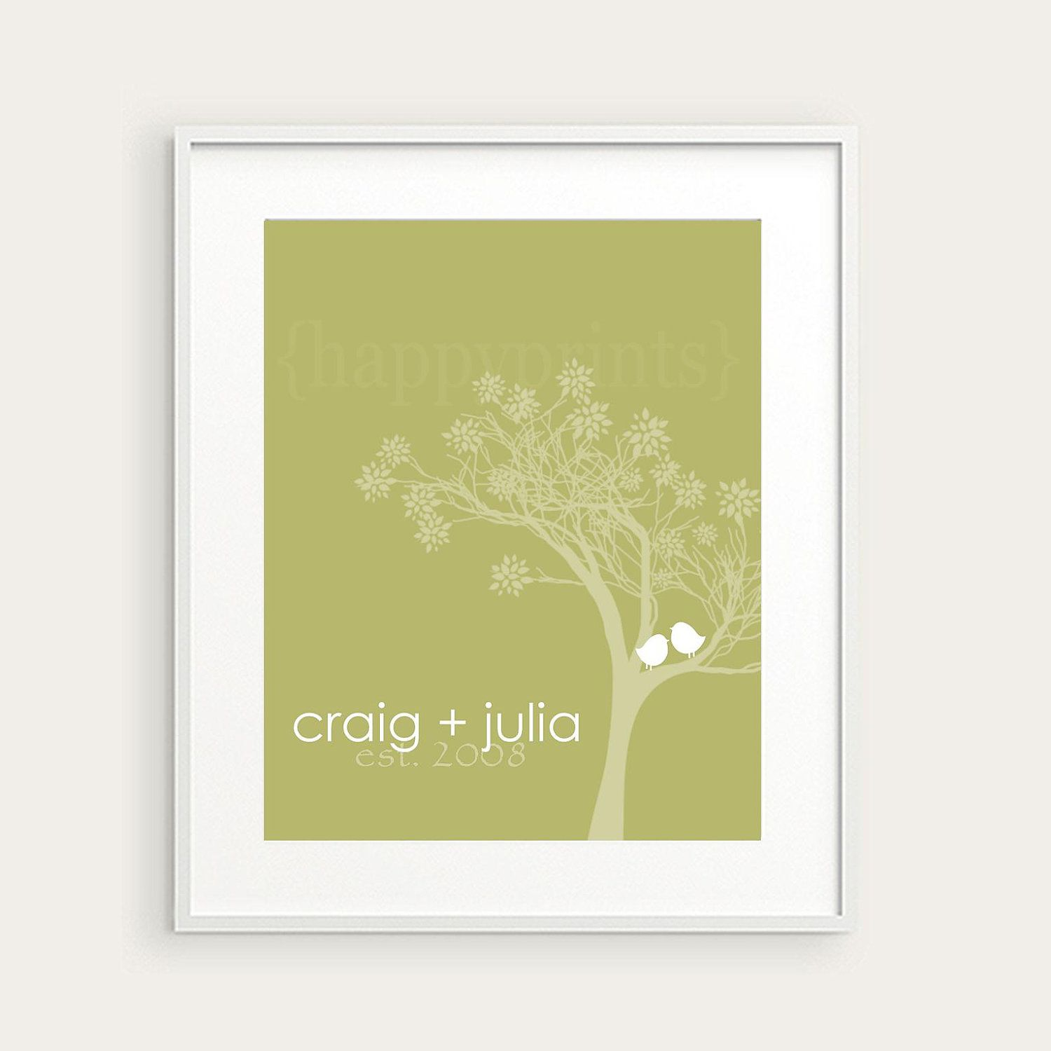 Personalized Couple Wedding Gift, Lovebirds Family Wall Art Print ...