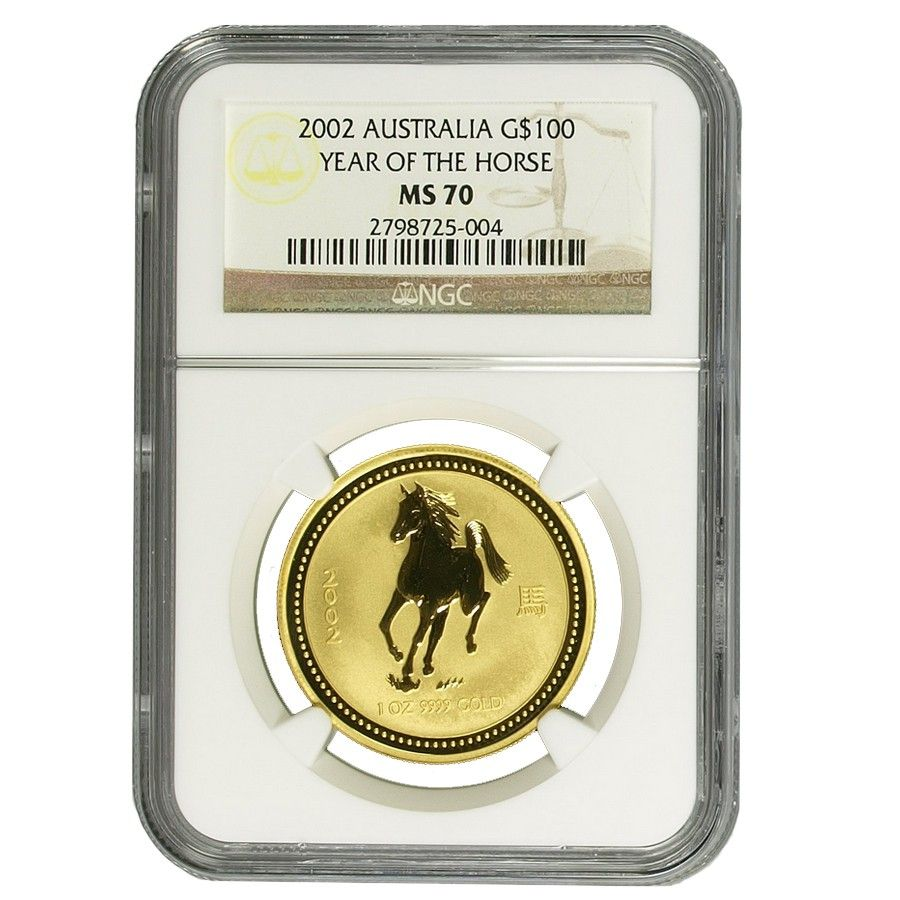 2002 1 Oz Australian Gold Lunar Year Of The Horse Coin Ngc Ms 70 Horse Coins Year Of The Horse Australian Gold