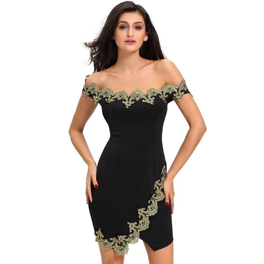 Black dress gold lace -  D22716 Gold Lace Applique Black Off Shoulder Mini Dress