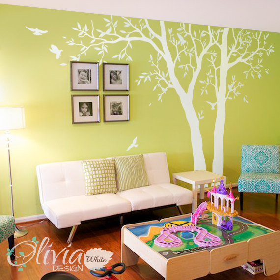 Large White tree decal Huge Tree wall decal Wall Art Tattoo Wall ...