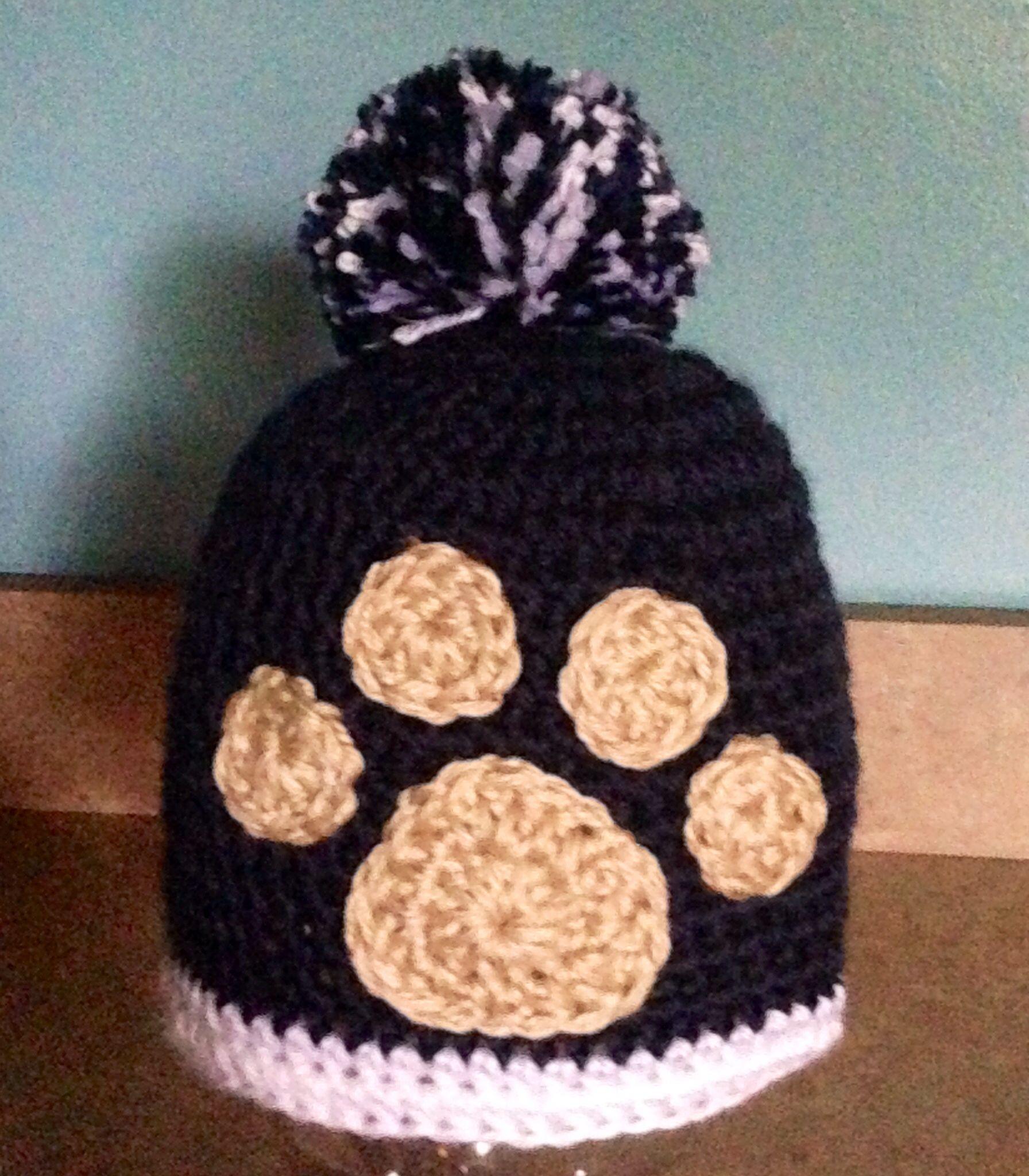 Penn State Paw Print Crocheted Hat Sew Crochet Pinterest Headband Pattern Diagram Hats Caps Etc Pin