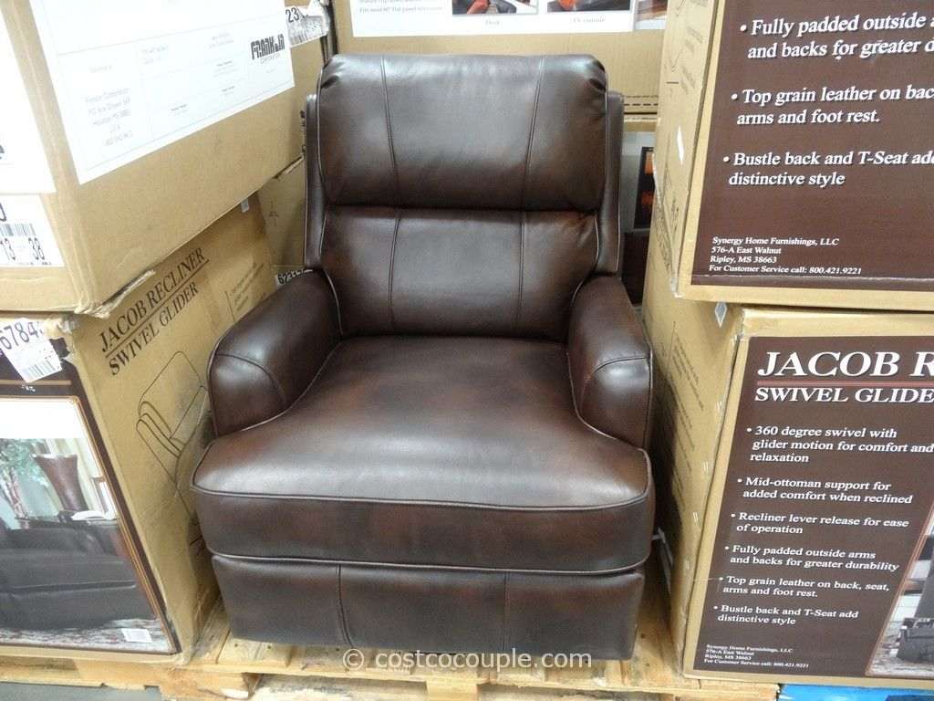 Charmant Synergy Jacob Leather Swivel Glider Recliner Costco
