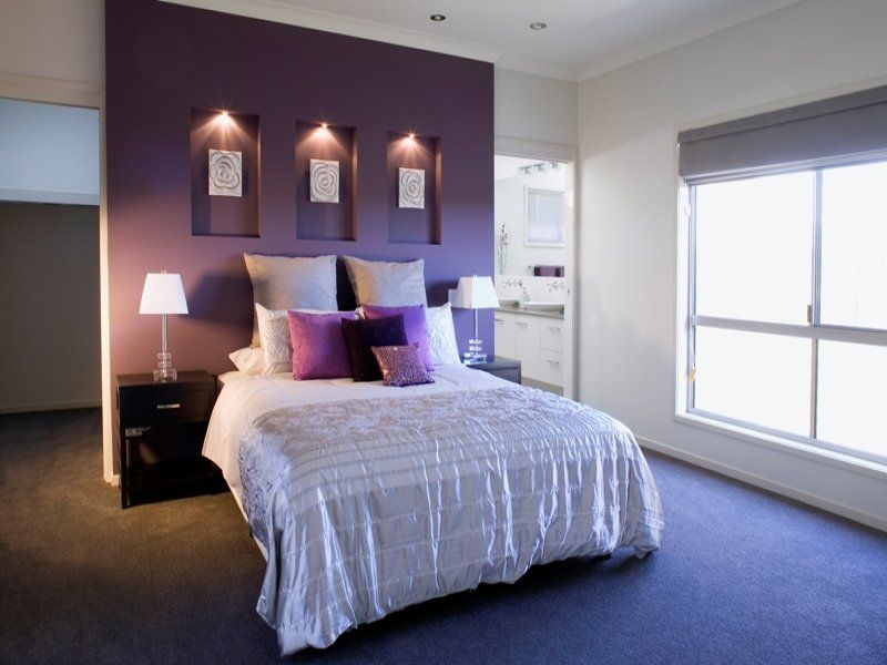 Delightful Purple Feature Wall Bedroom Ideas Part - 4: Beautiful Bedroom Ideas