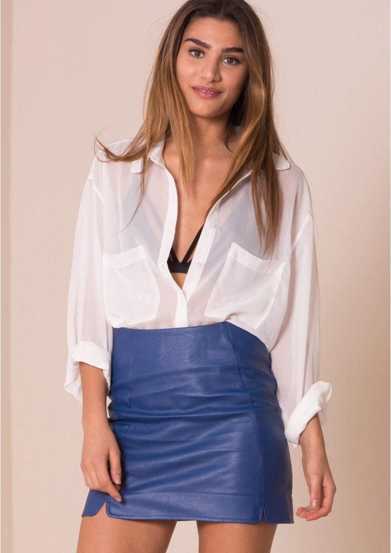 Zaya Blue Faux Leather Mini Skirt | Wardrobe | Pinterest | Leather ...