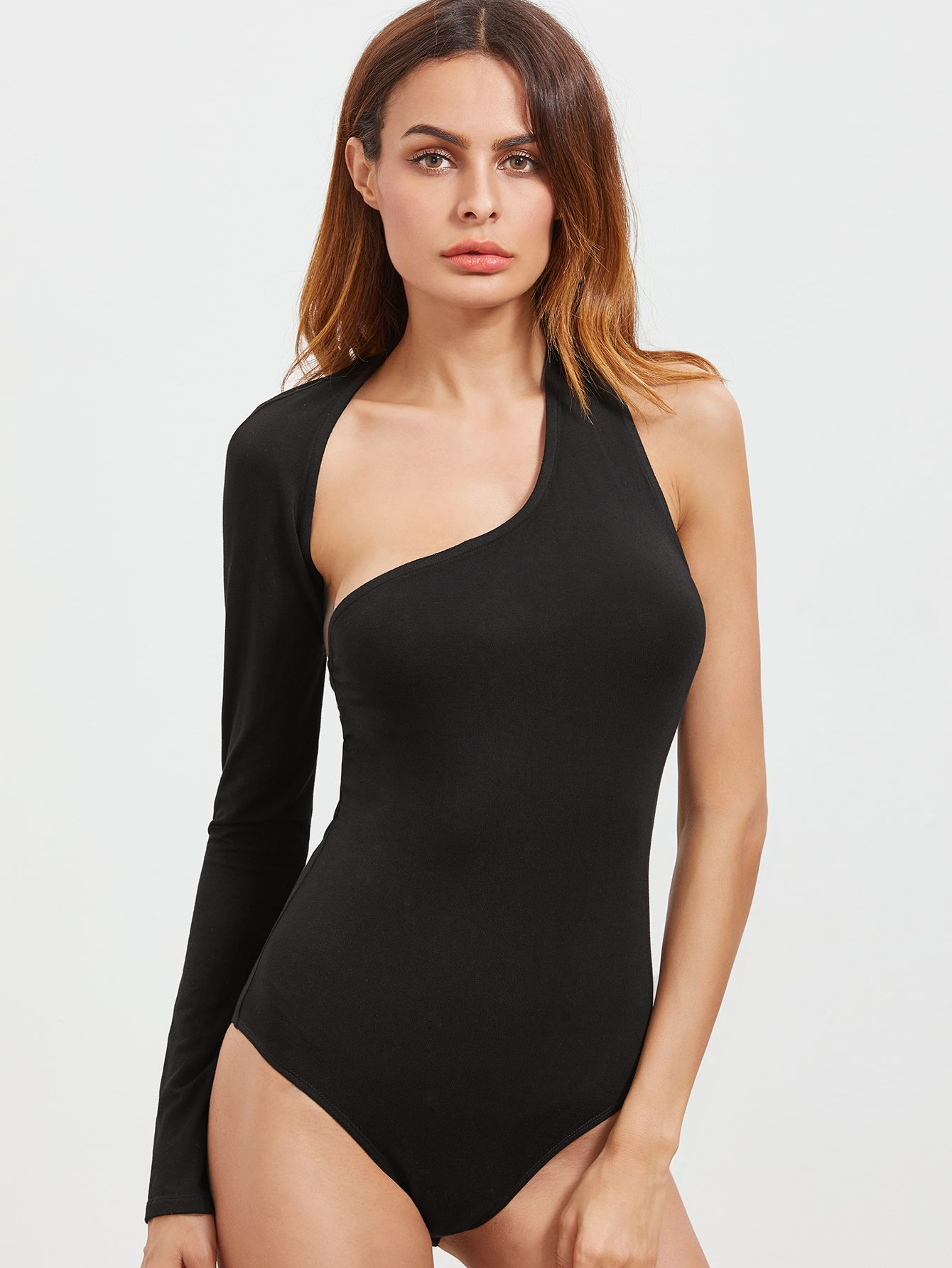 0fba9456 Shop Black Cutout One Shoulder Wrap Around Sleeve Bodysuit online. SheIn  offers Black Cutout One Shoulder Wrap Around Sleeve Bodysuit & more to fit  your ...