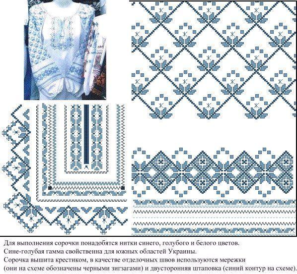 Вышивки крестом украинских сорочек