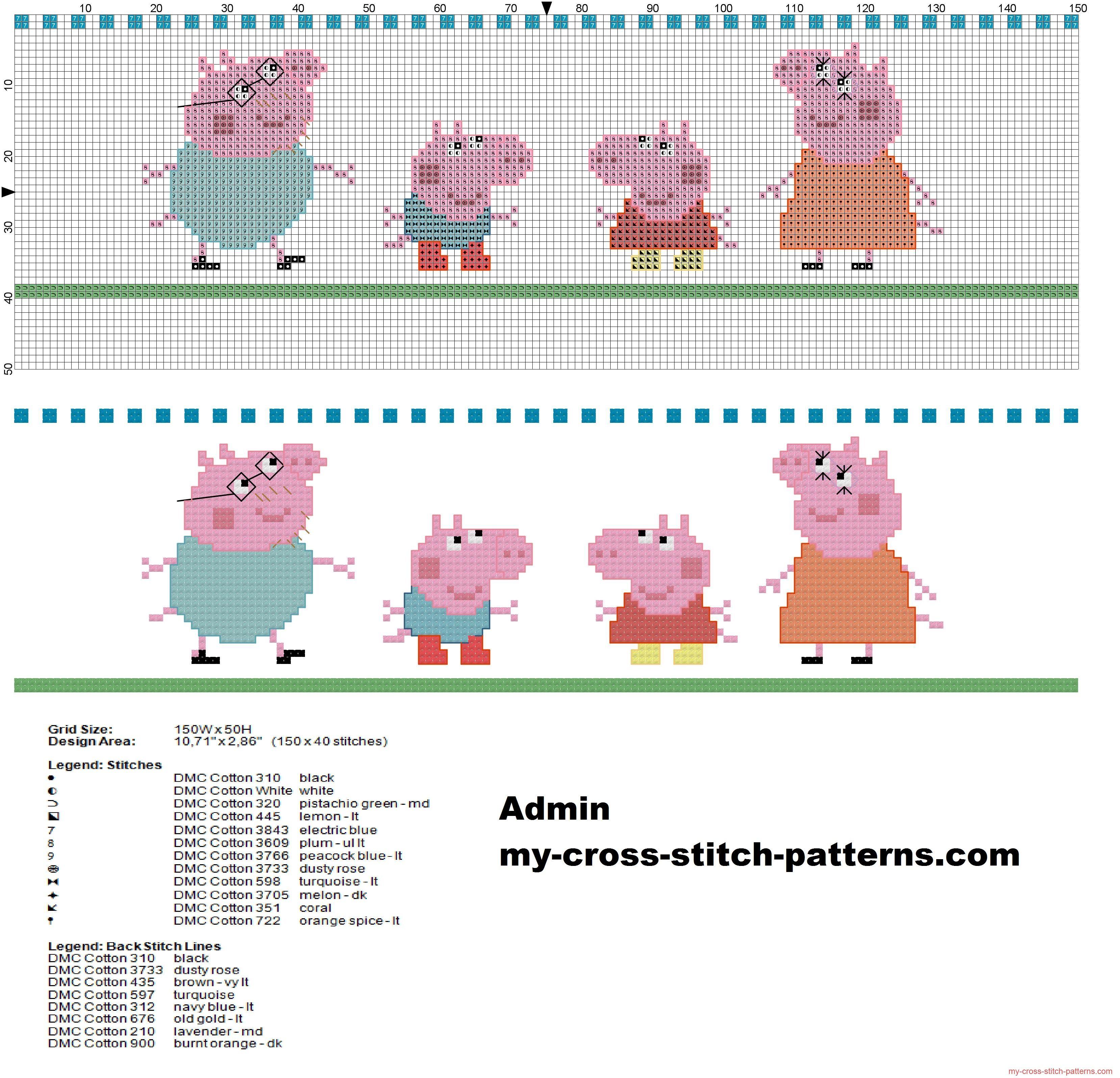 Bordo punto de cruz con la familia Peppa Pig manta bebé | cross ...