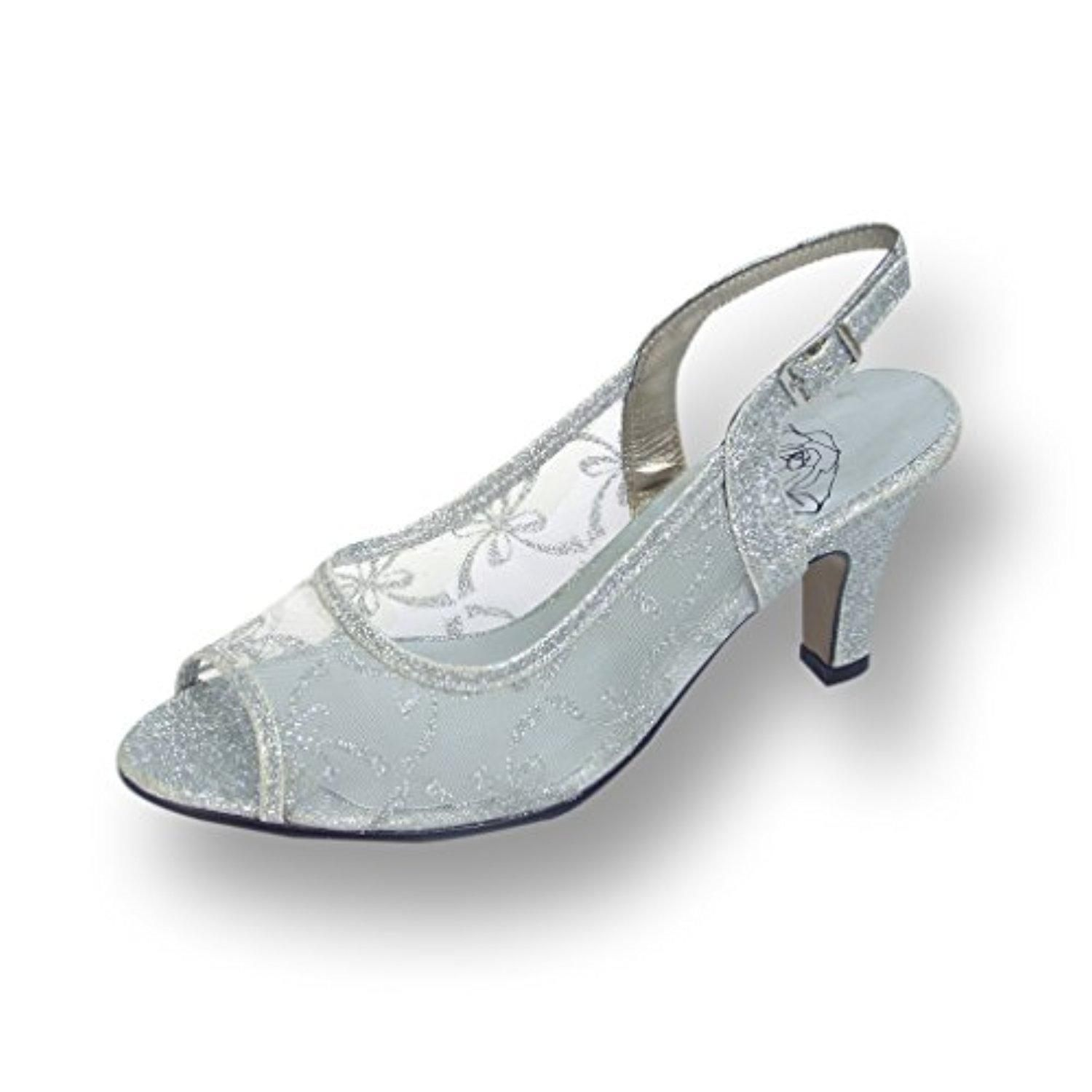 c46d5d3a2d7 FIC FLORAL Violet Women Wide Width Slingback Mesh Pump SILVER 10 - Brought  to you by Avarsha.com