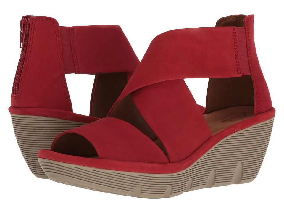 a4f437700e CLARKS CLARKS - CLARENE GLAMOUR (RED NUBUCK) WOMEN'S SANDALS. #clarks #shoes  #