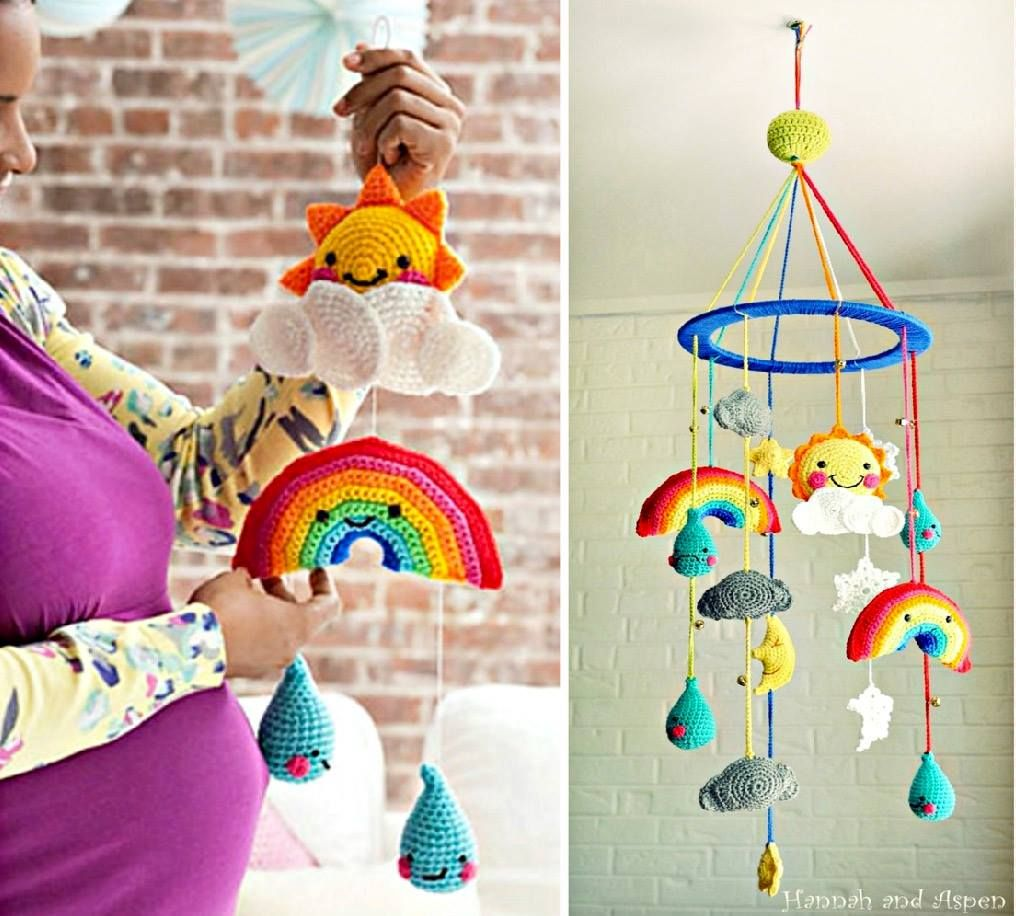 Crochet Rainbow Baby Mobile Free Pattern | Armazenamento para bebê ...
