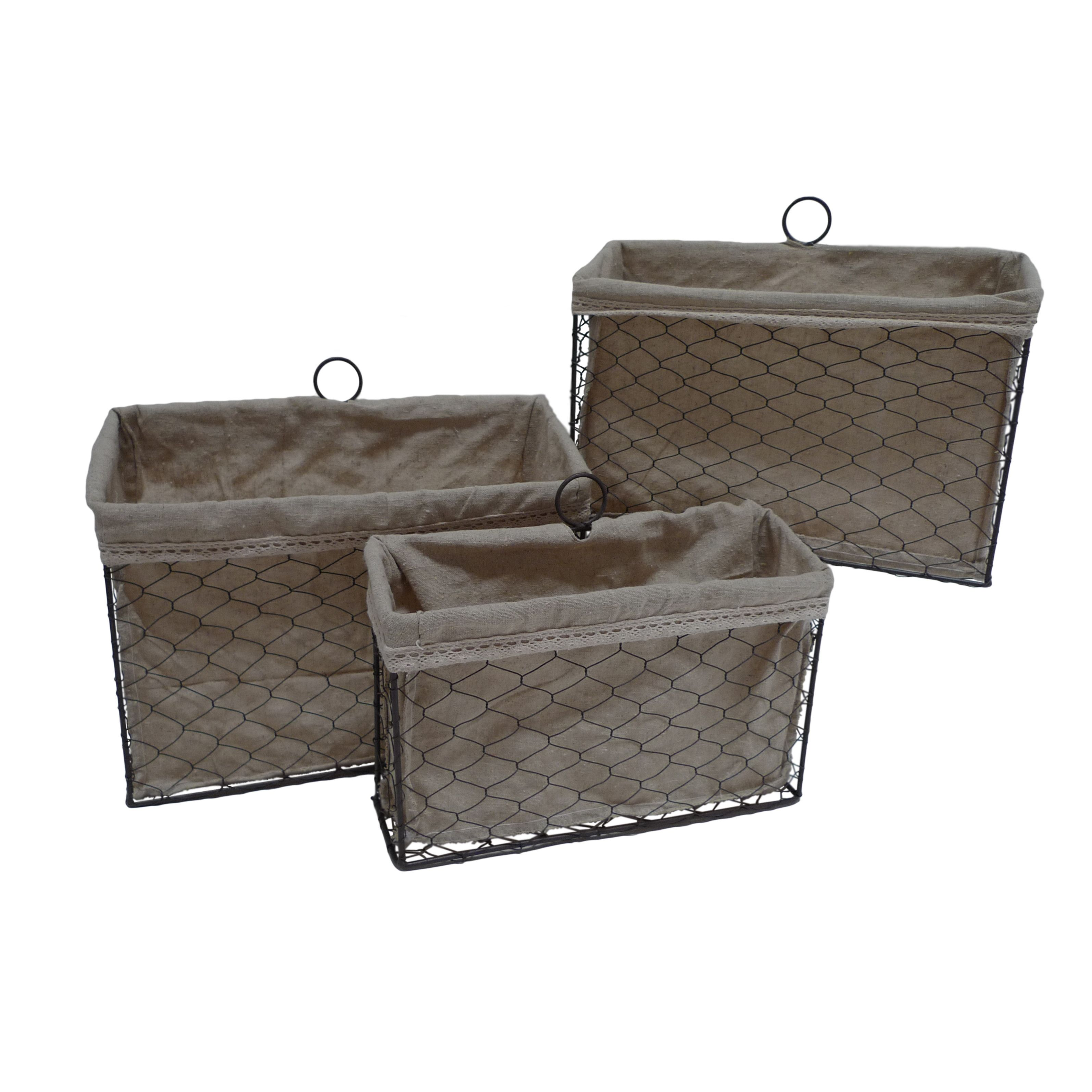 38.99 Cheungs 3 Piece Lined Wire Storage Basket Set