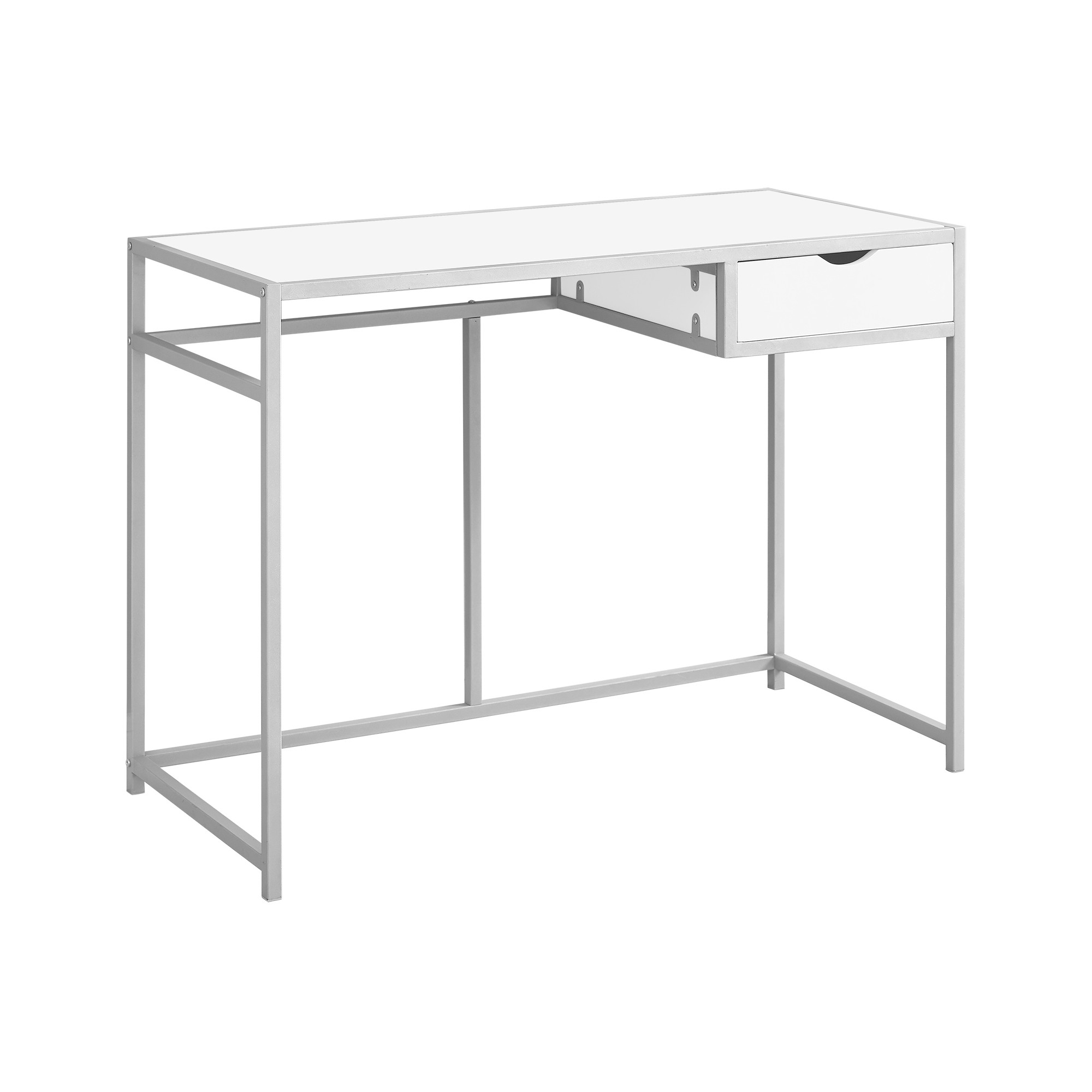 Wood And Metal Writing Desk With Drawers White Everyroom Metal Computer Desk White Computer Desk Contemporary Writing Desk