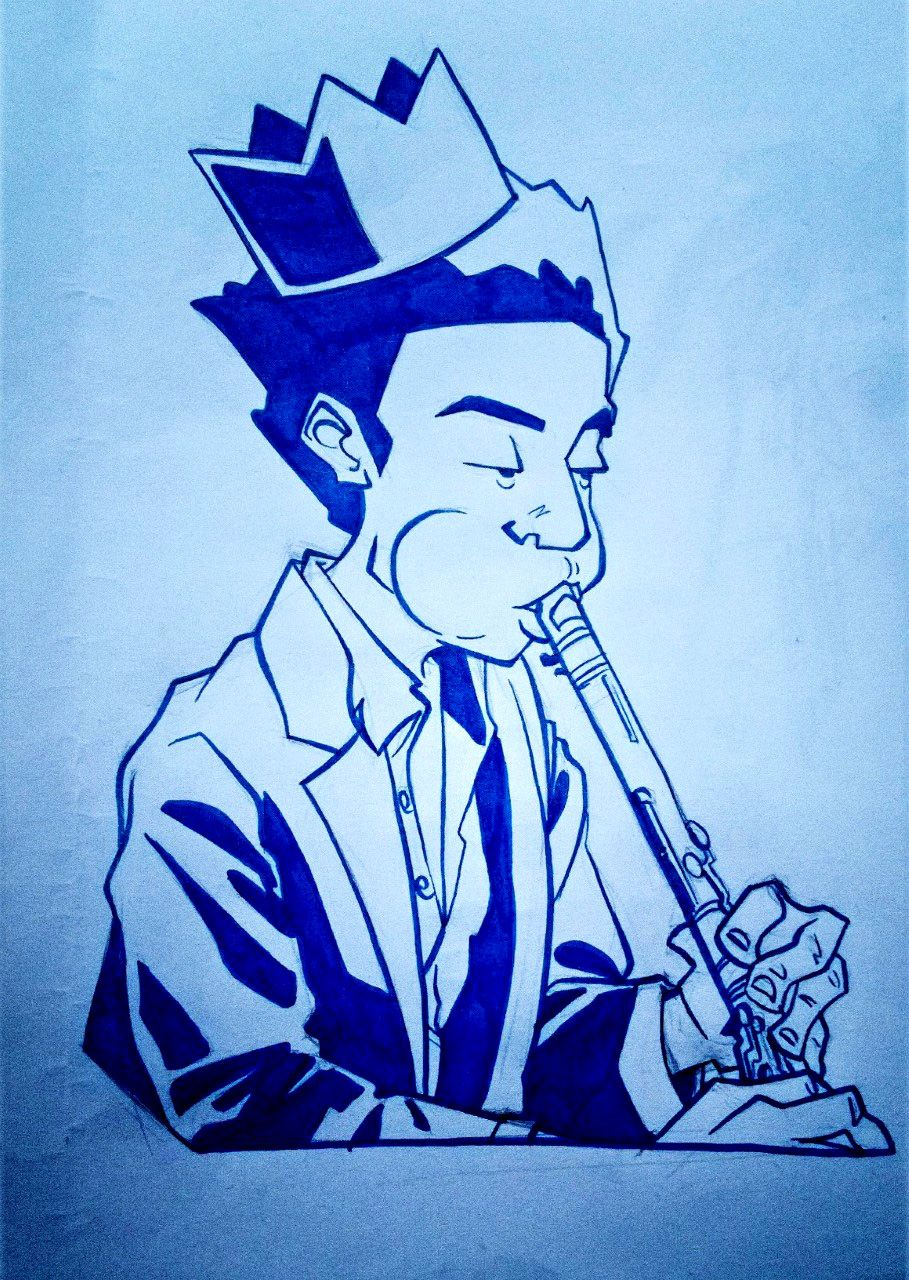 Study in blue, sketch, drawing, art, comic, music, man, crown,clarinet, marker,instrument,ink,basquiat,drawing,beat,jazz,band,radiant child,new york,soho