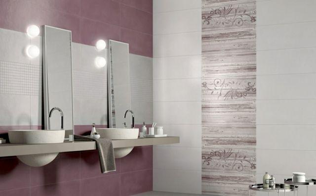 Violett weiße mattierten Fliesen mit Mosaik und Blumen Mustern - muster badezimmer fliesen