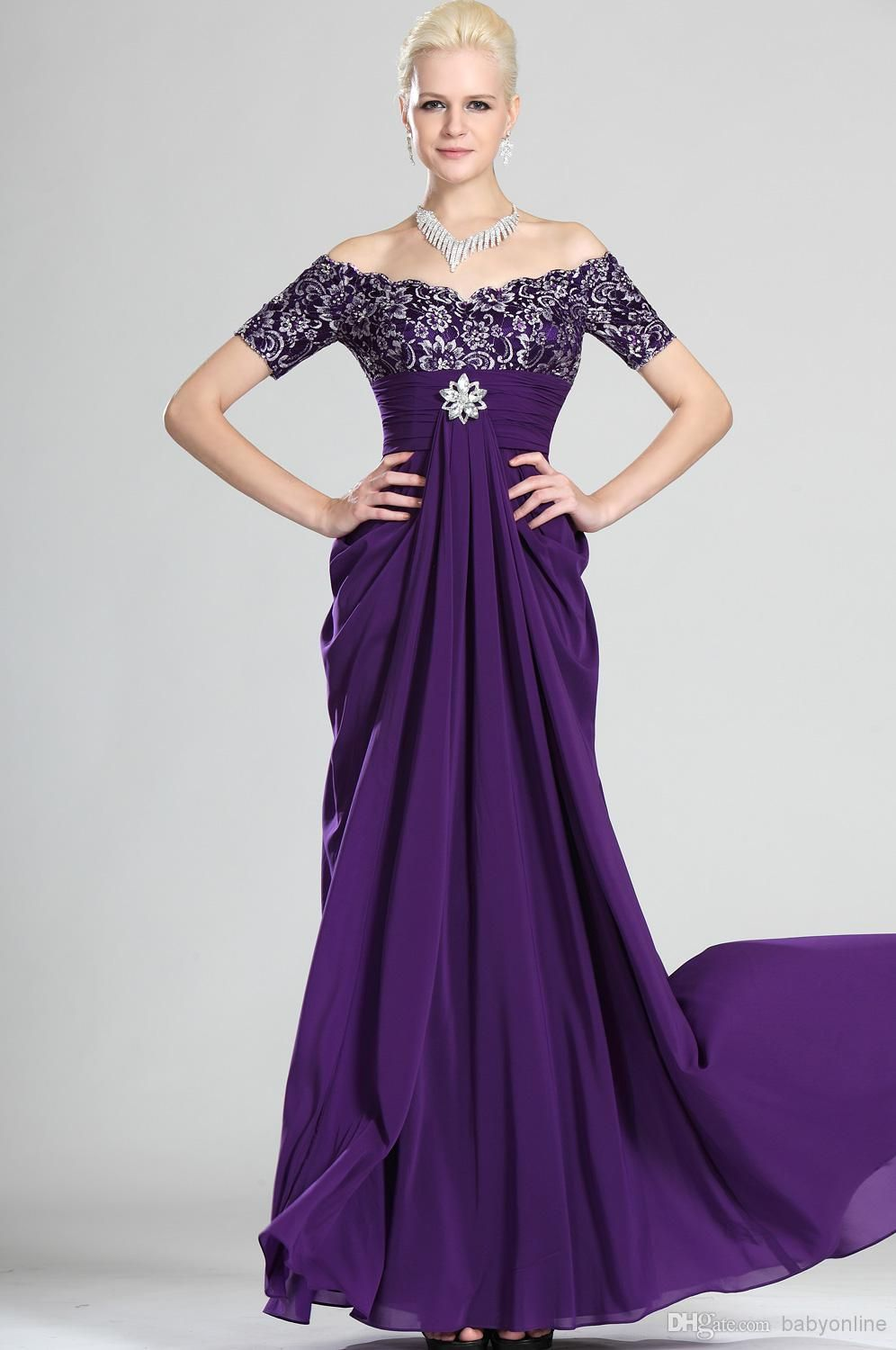 Wholesale Evening Gowns - Buy 2014 Chiffon Off Shoulder Purple ...