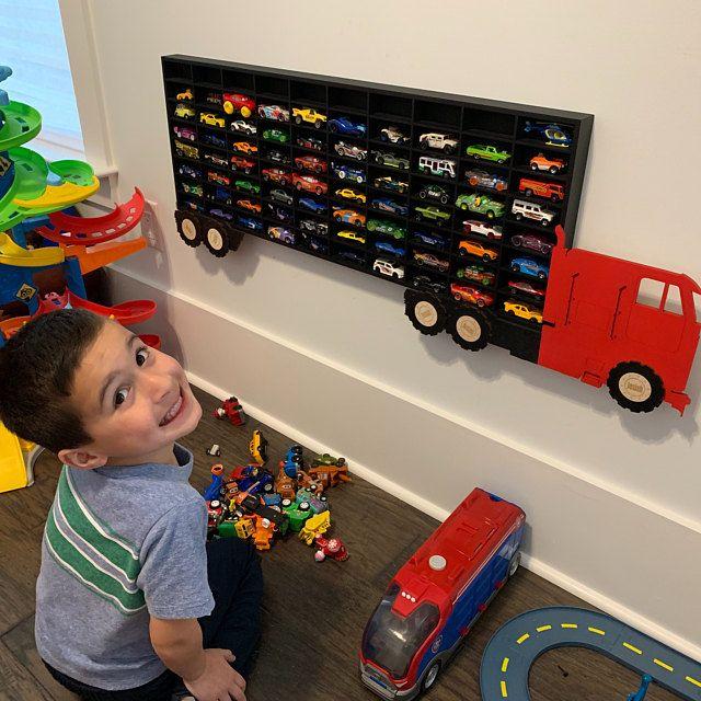 80 Hot Wheels Boys Wood Truck Display Case Toy Matchbox | Etsy