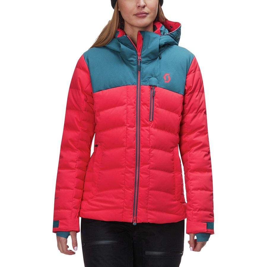 Scott Ultimate Hooded Down Jacket Women S Dragonfly Green Hibiscus Red Jackets Jackets For Women Down Jacket [ 900 x 900 Pixel ]