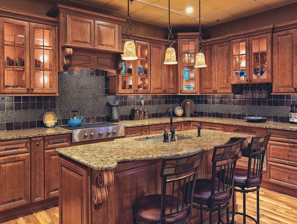 Cabinet design; cabinet/floor wood color combo; sink in island ...