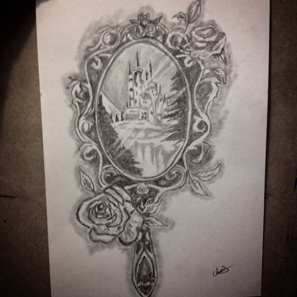 Drawing i did of a beauty and the beast inspired mirror for Mirror drawing