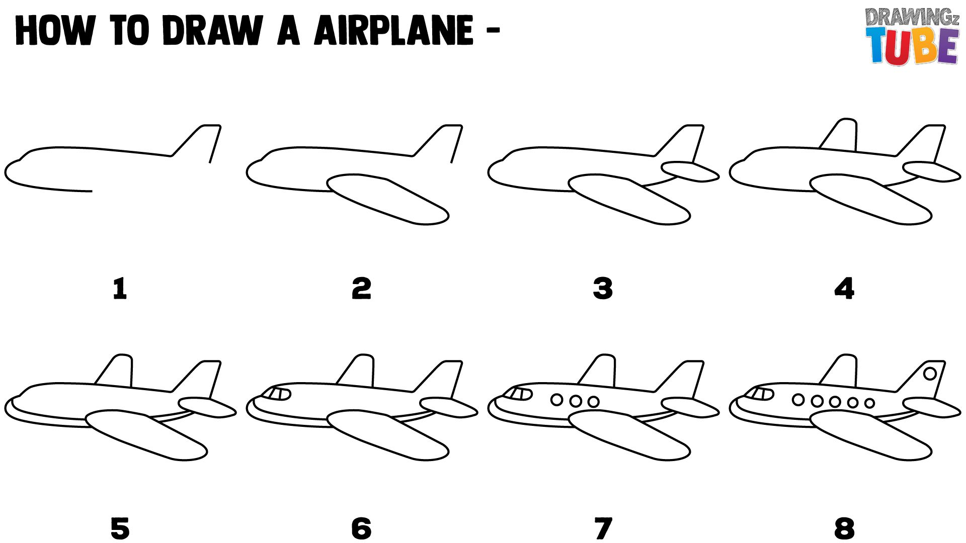 How To Draw Toy Airplane For Kids Step By Step Drawings For Kids