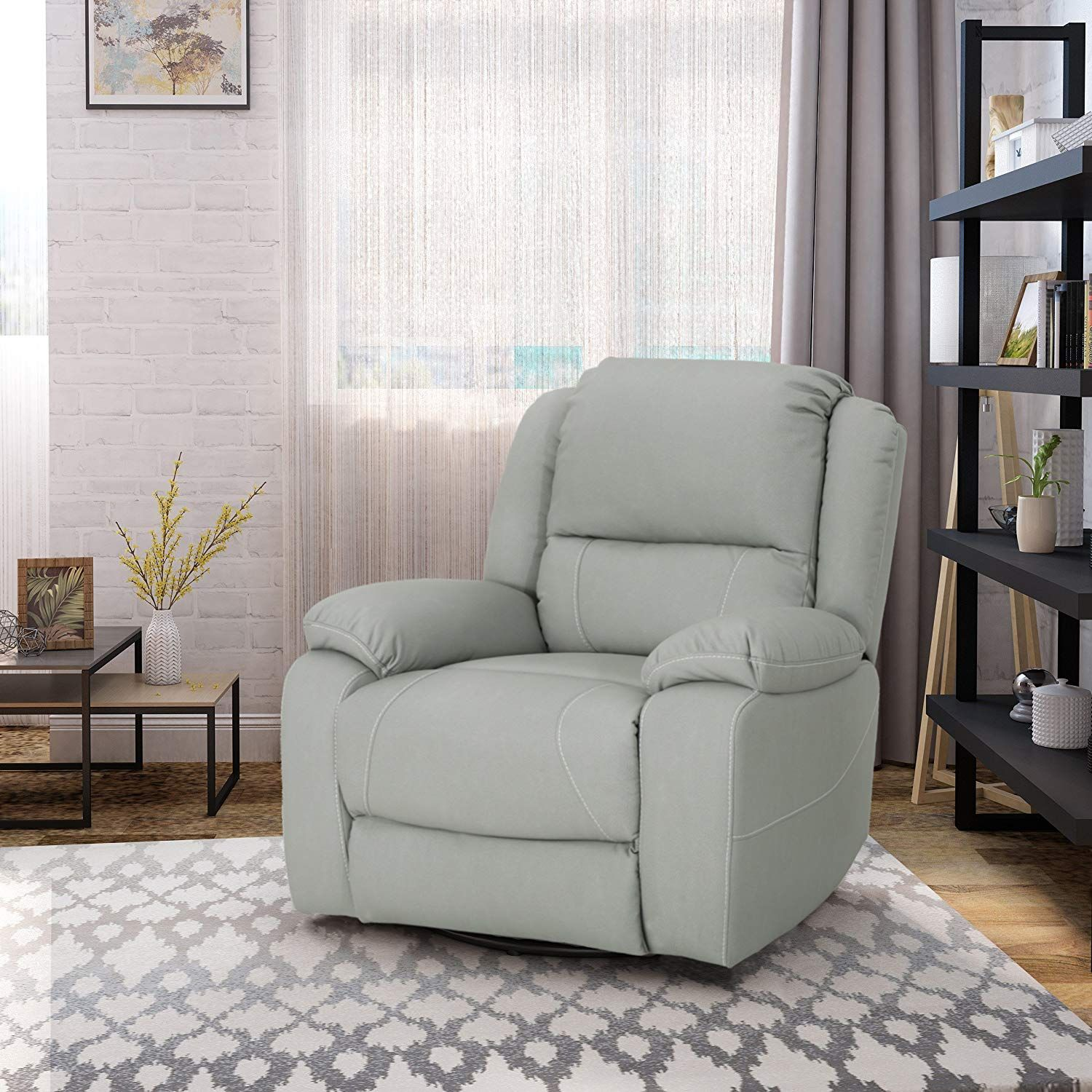 Teresa Classic Tufted Leather Swivel Recliner, Light Grey