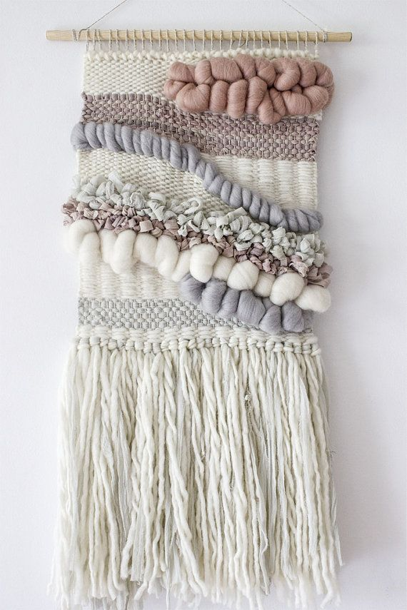 Blush grey white woven wall hanging | Woven wall art | Wall weaving| Tapestryu2026 & Woven wall hanging | Woven wall art | Woven tapestry wall hanging ...