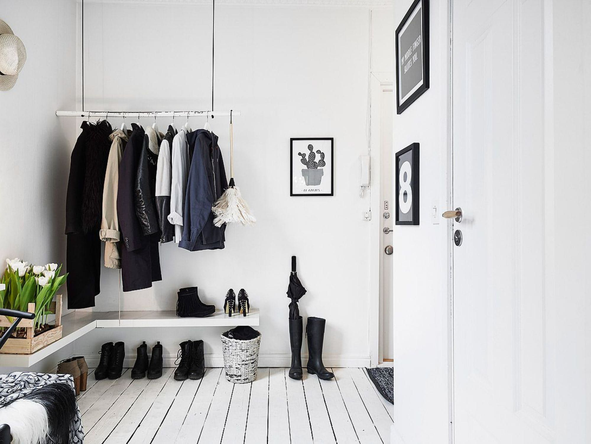 Hallway hooks and storage   Enviable Entryways That Prove You Donut Need a Coat Closet to Stay
