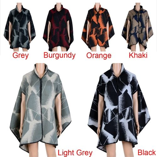 New Fashion Women Winter Poncho Cape Gradient Contrast Cardigan Long Shawl Scarf Warm Pashmina Black