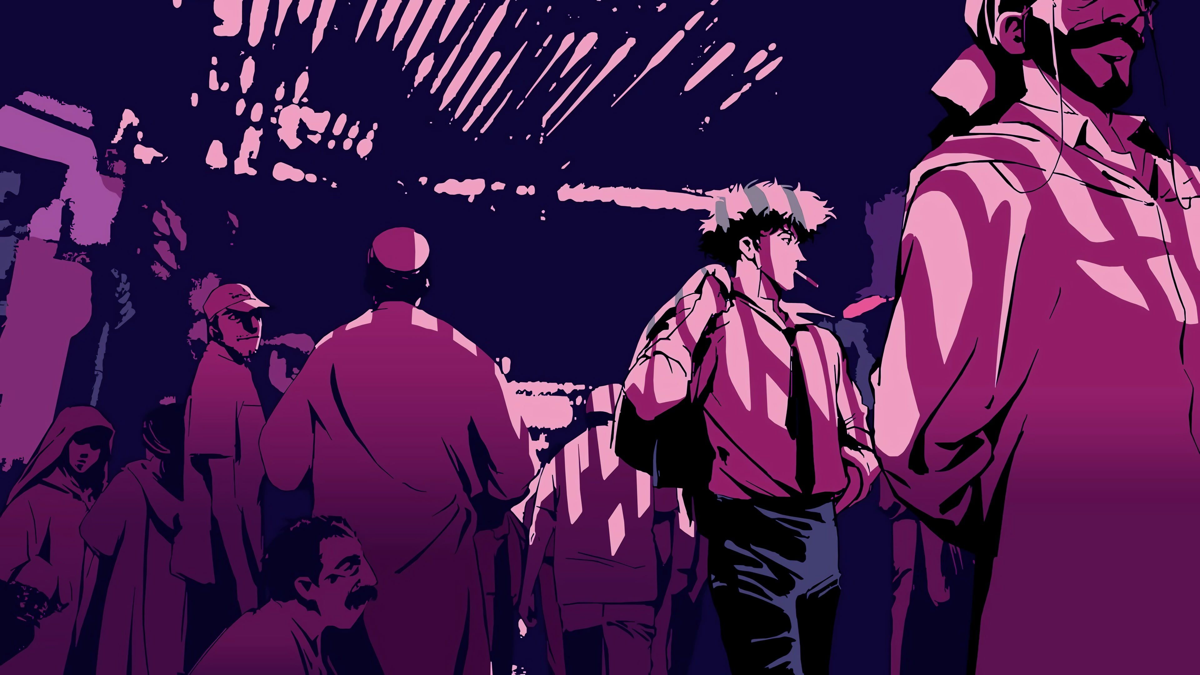 Anime Monochrome Cowboy Bebop Pink Purple 4k Wallpaper Hdwallpaper Desktop In 2020 Cowboy Bebop Wallpapers Cowboy Bebop Anime Cowboy Bebop