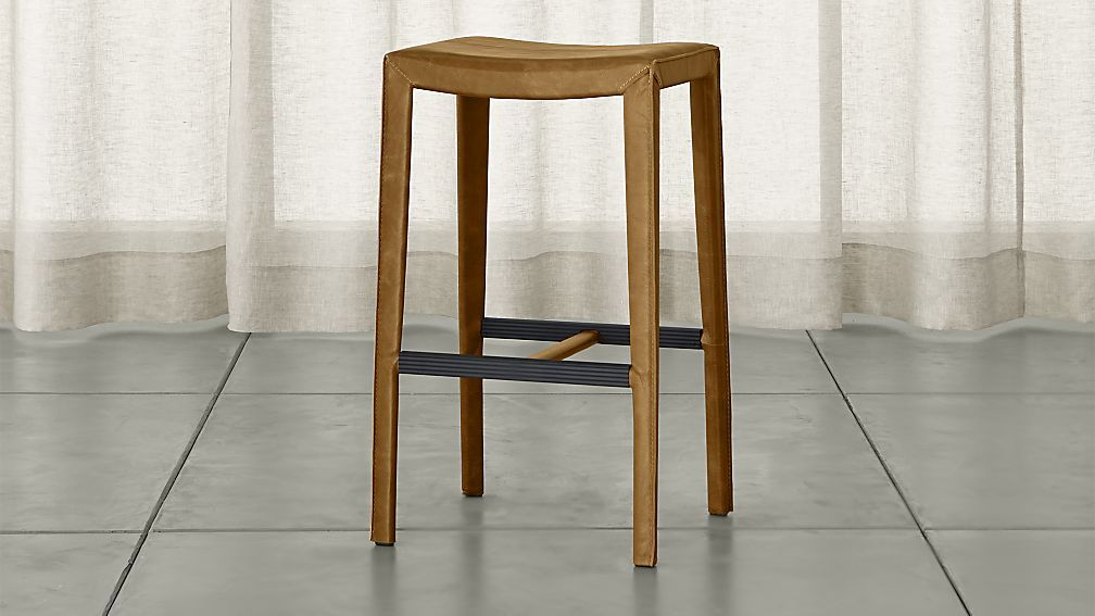 Folio Top Grain Leather Backless Bar Stool Crate And