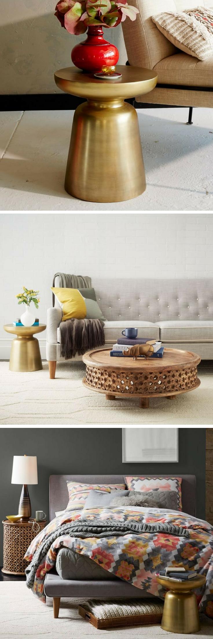 Martini Side Table | End Table | Side Table | Metallic | Living Room Decor |