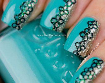 Encaje blanco de brillo de uñas de arte pegatinas por Hailthenails