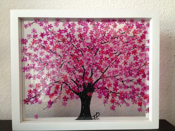 Pink Cherry Blossom Tree Glass Painting Stained Glass Painting Pink Cherry Blossom Tree Cherry Blossom Art