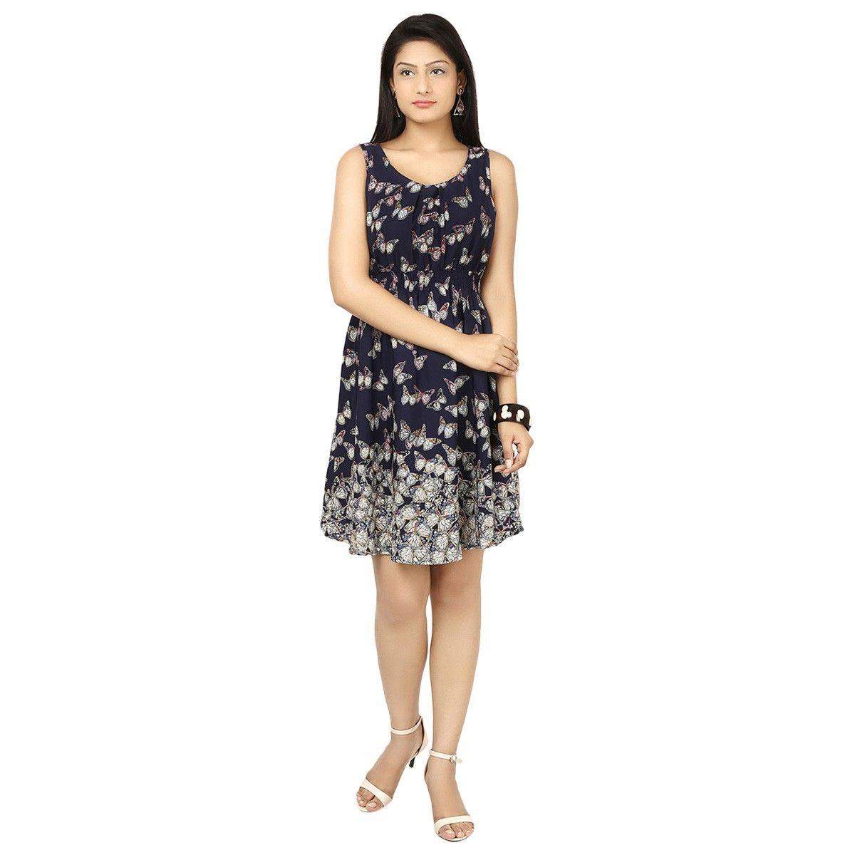 fe166af483 Crepe Black Printed Frock Style Dress - 1052B
