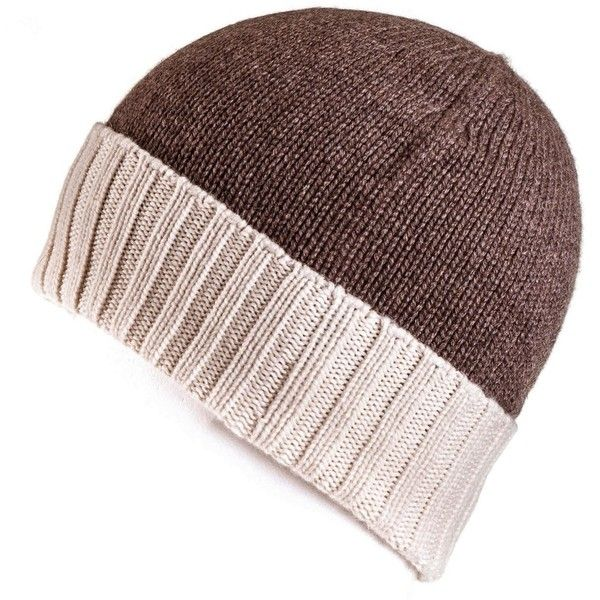 Chocolate Brown and Cream Cashmere Beanie ($96) ❤ liked on Polyvore ...