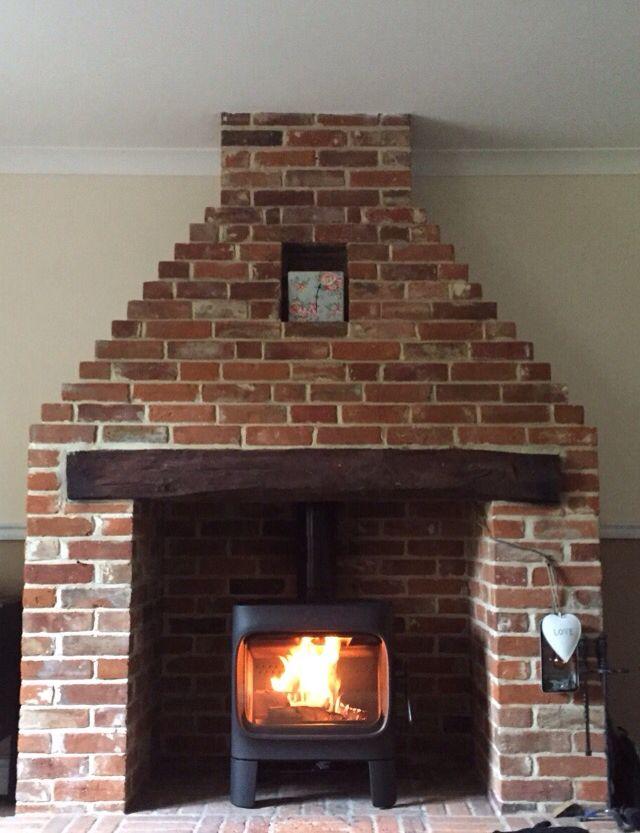 Jotul F305 Inspired And Beautiful Brick Hearth Fireplace