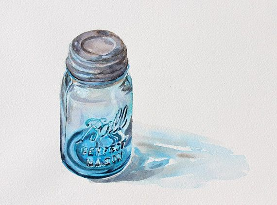 Ball Jar Original Watercolor Glass Still Life Painting On Paper