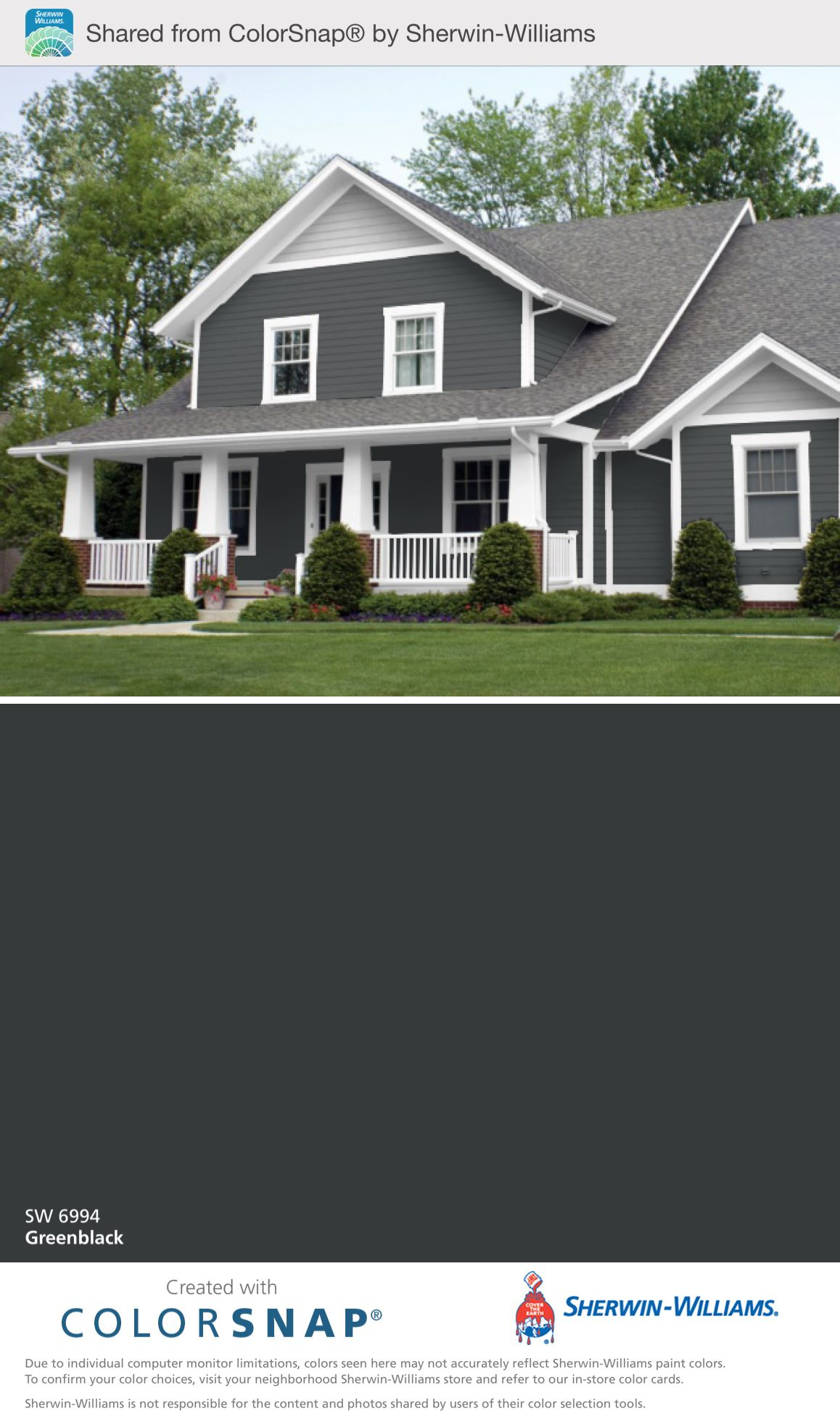 Our outside color greenblack sherwin williams house - Sherwin williams exterior colors ...
